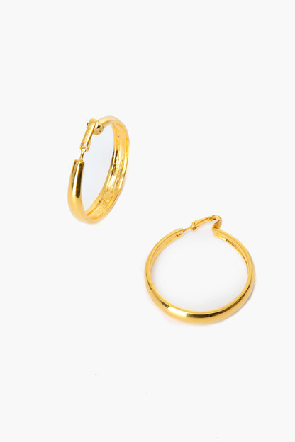 Polished Gold Tapered Hoop Clip On Earrings