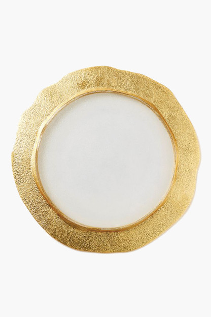 Rufolo Glass Gold Organic Service Plate/Charger This item ships directly from the vendor within 3 business days.