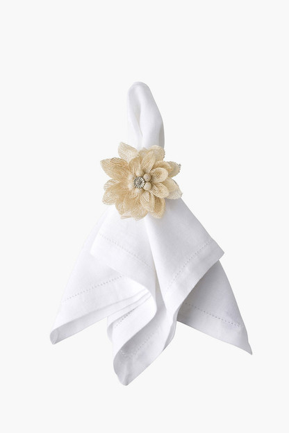 natural dahlia napkin rings (set of 4)