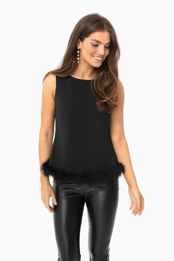 black sleeveless top with fur trim