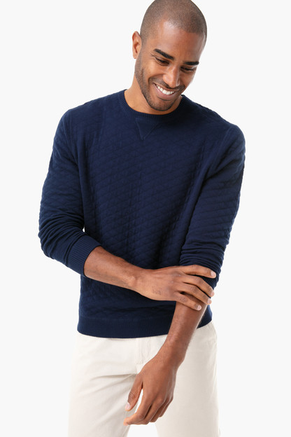 navy ward quilted sweater