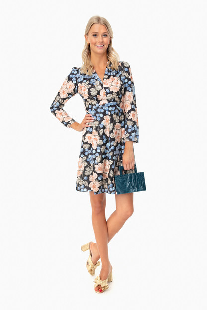 black combo long sleeve v-neck floral dress