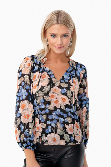 black combo long sleeve blush rose top