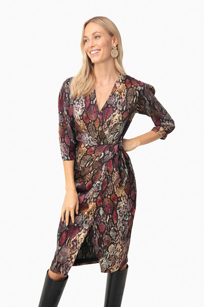 Multi Combo Long Sleeve Snake Wrap Dress