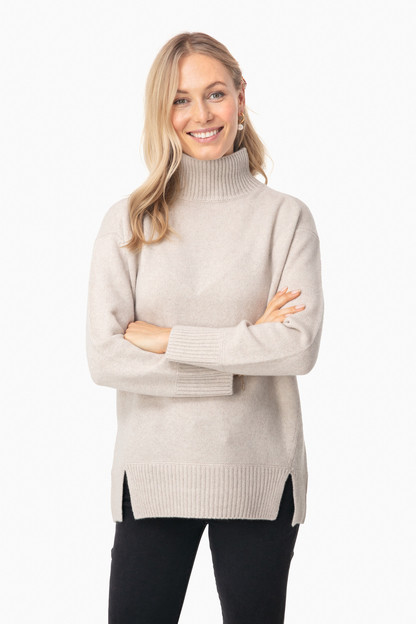 Biscuit Double Slit Turtleneck Sweater