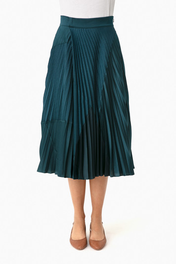 carpinteria mixed media pleated skirt