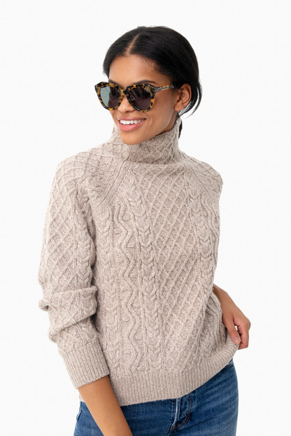 light heather marzipan zig zag cable sweater