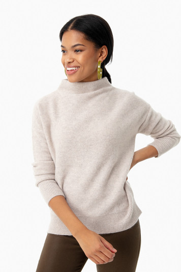 marble funnel neck pullover