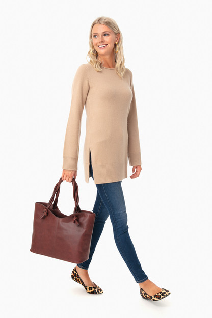 camel crew neck tunic
