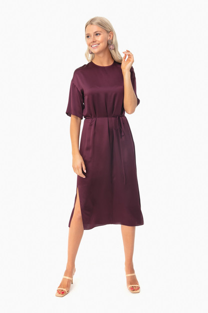 Dahlia Wine Seamed Front Dress