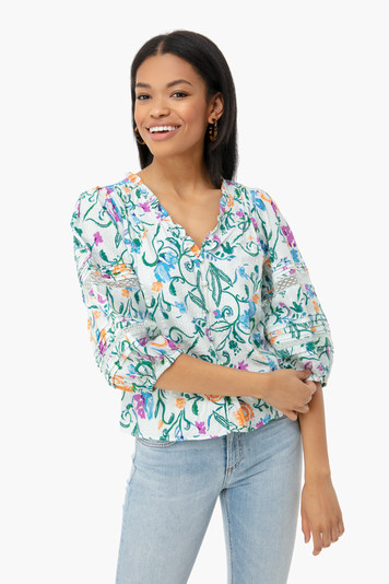 white scrolly floral goa top