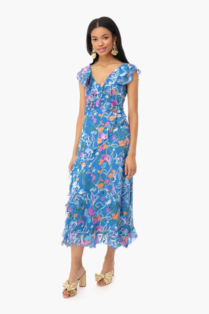 blue scrolly floral arielle dress