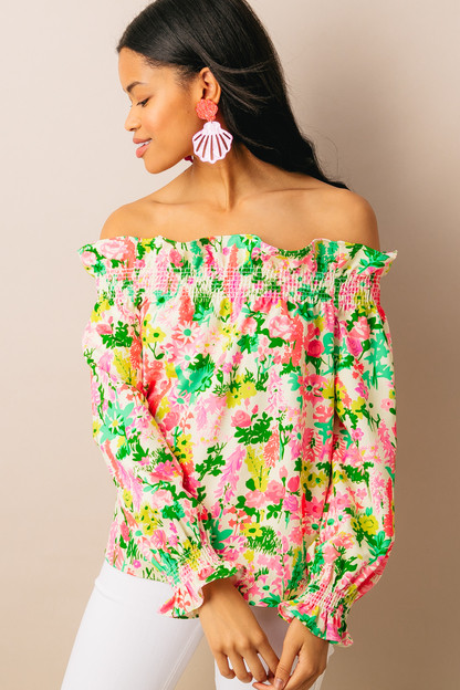 multi floral off the shoulder marguerite blouse