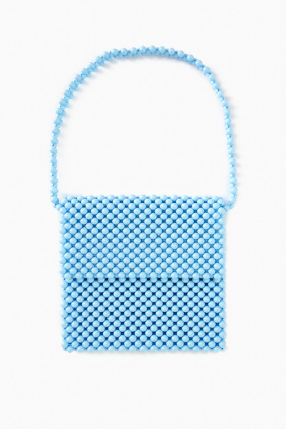 pale blue beaded clutch bag