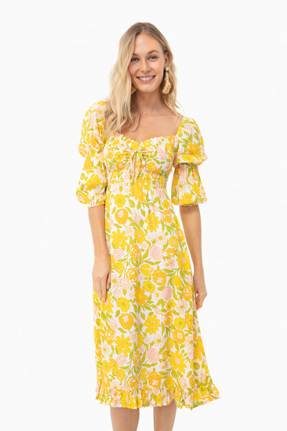 jolene floral nora midi dress