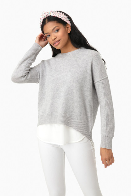 vail gray melange layered brighter crew