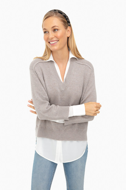 light chia melange v-neck layered pullover