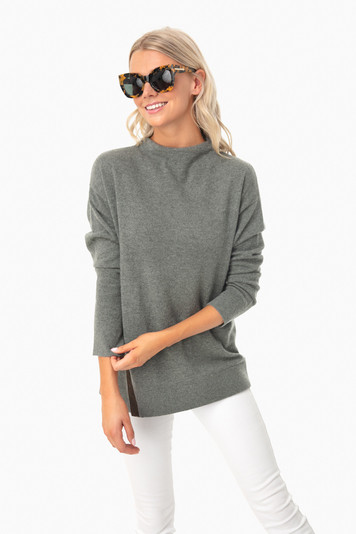balsam olive vida funnel sweater
