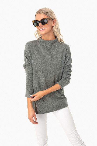 Balsam Olive Vida Funnel Sweater