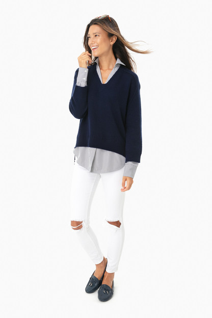 navy stripe v-neck layered pullover