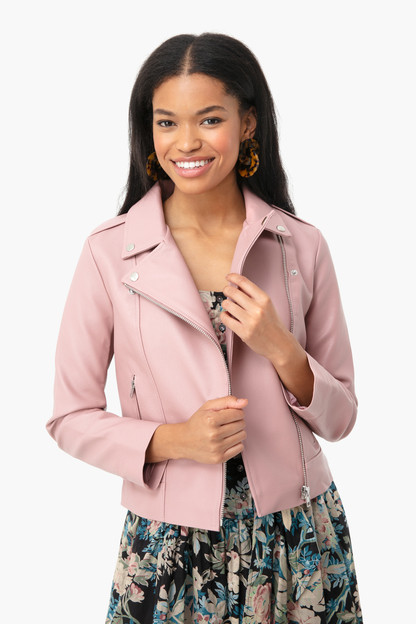 rose quartz moto finish jacket