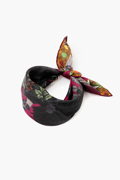 the opulent ostrich small silk scarf