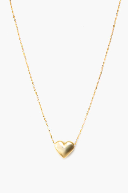 14k yellow gold heart charm necklace