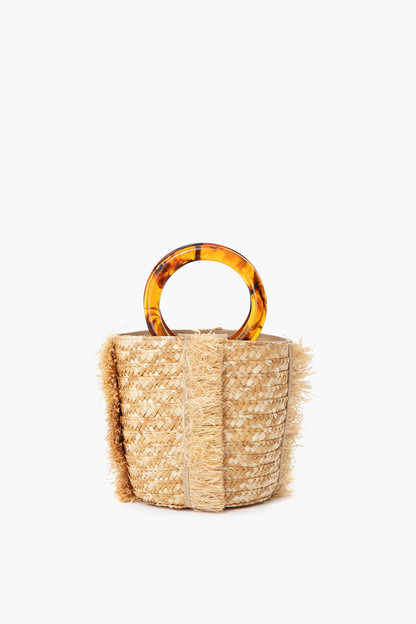 Tortoise Raffia Bucket Bag