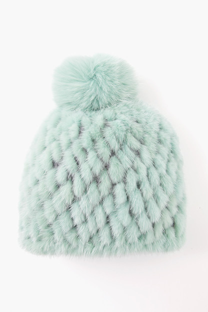 mojito knitted mink hat with fox pom pom