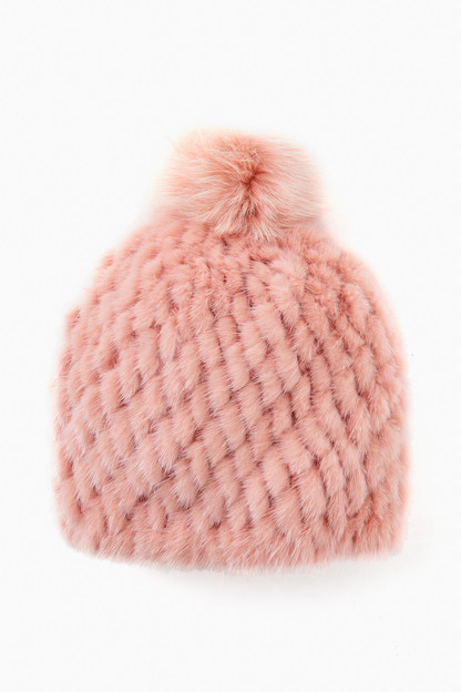 Dusty Pink Knitted Mink Hat with Fox Pom Pom