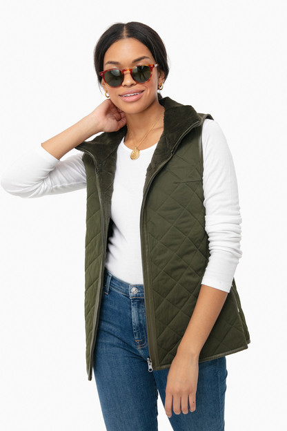 olive quilted sheared rabbit reversible stand collar vest