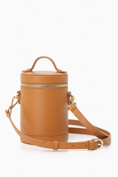 atlas tan leather crossbody capsule bag