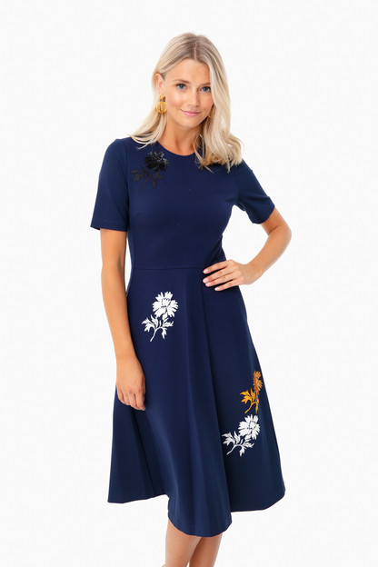 Tory Navy Embellished Ponte Dress