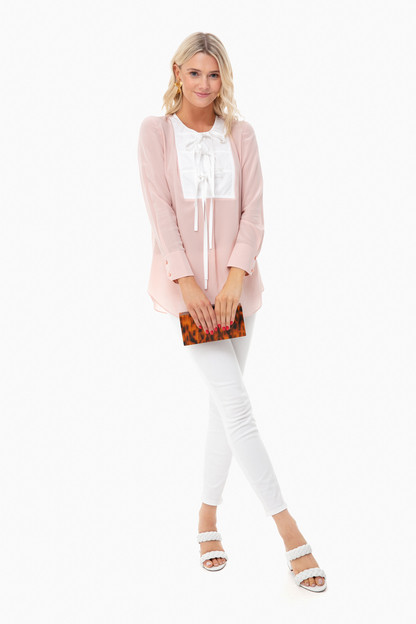 mineral pink tie front top