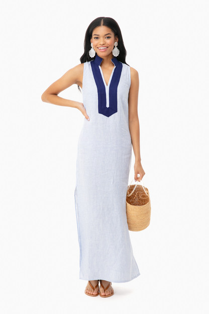 blue stripe sleeveless maxi tunic