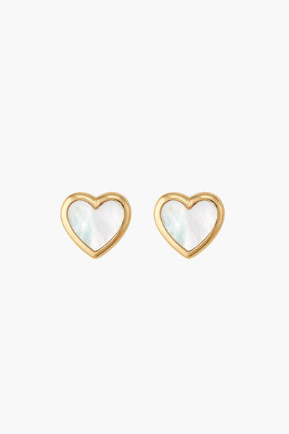 heart mother of pearl stud earrings