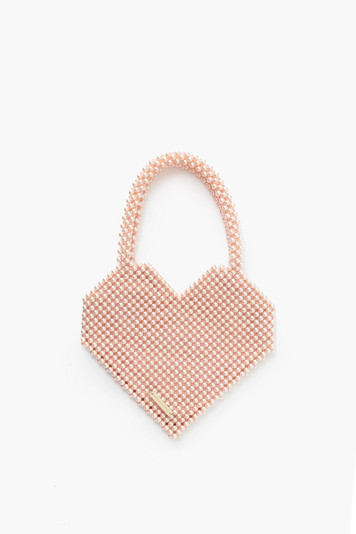 blush pearl maria beaded heart tote
