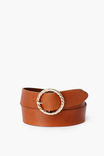 cognac leo twisted circle buckle belt