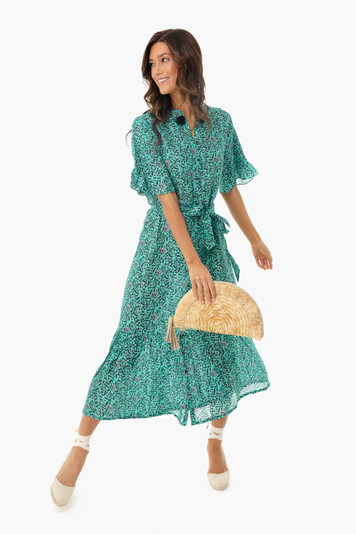 impala floral green saskia dress