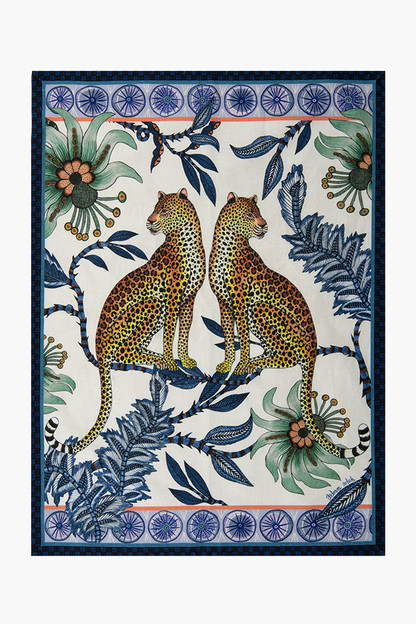 tanzanite lovebird leopards tea towel