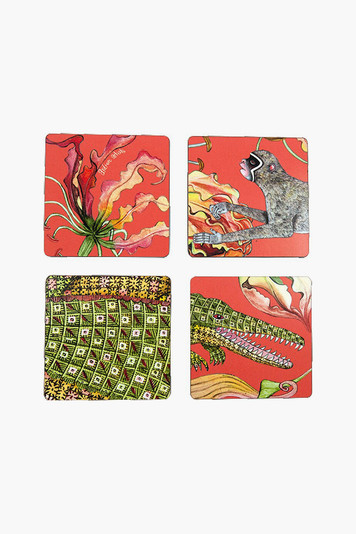 coral flame lily coasters (set of 4)