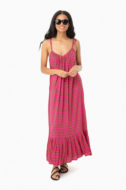 pink yarrow cheetah india sundress
