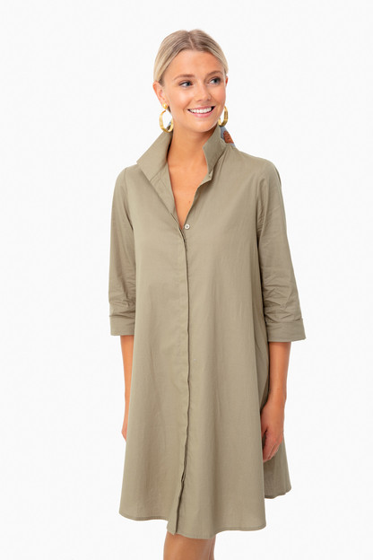 sage green charlie stand collar dress