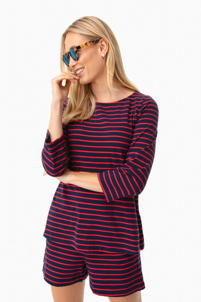 navy striped jojo top