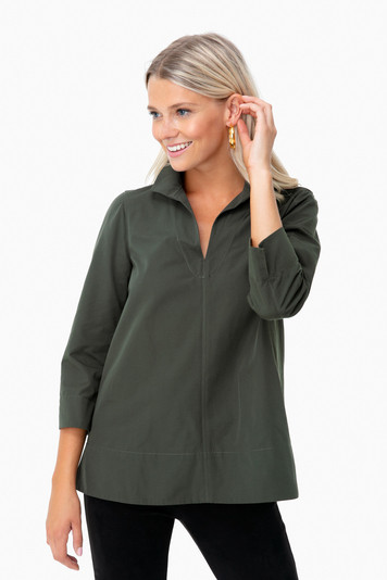 dark green margot stand collar blouse