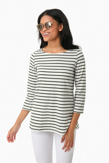 olive striped jojo top