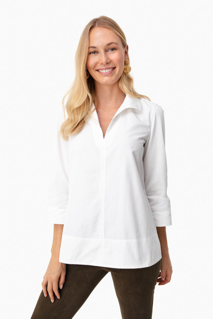 white margot stand collar blouse