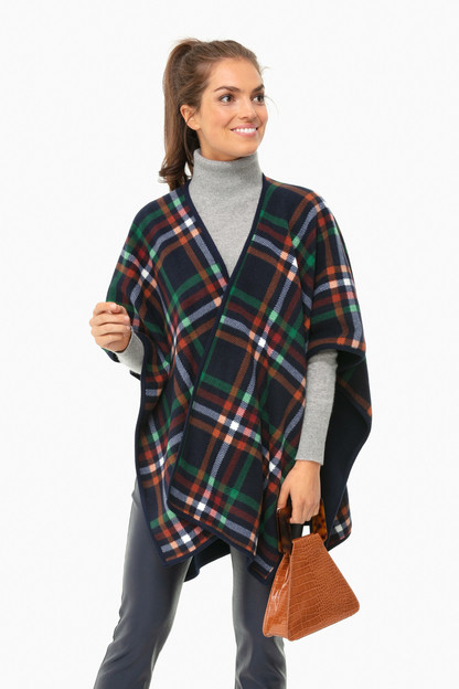 navy plaid surrey poncho