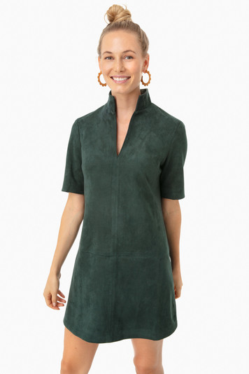 suede stand collar clifton dress