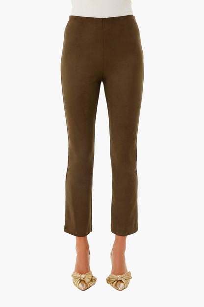 olive suede stretch ashford pants